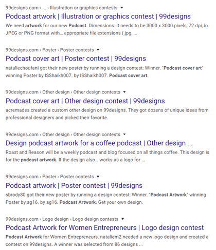 Podcast Artwork Google search